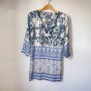 Calypso St Barth White Blue Paisley Silk Dress XS